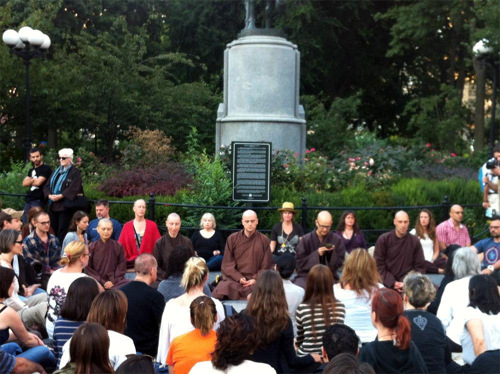Flashmob meditation with the monastics in Union Square, New York