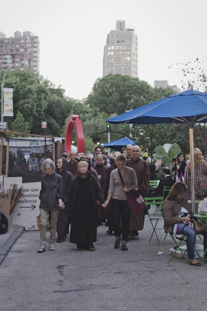 Sister Chan Khong during walking meditation in New York