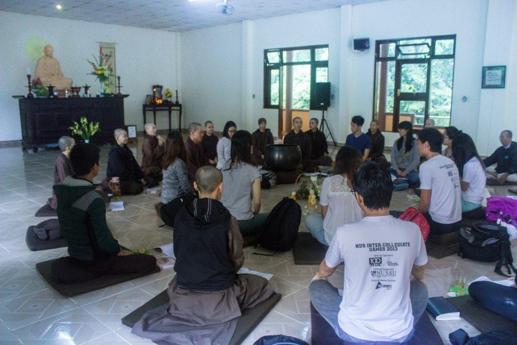 Tea meditation at Dieu Tram Temple Hue